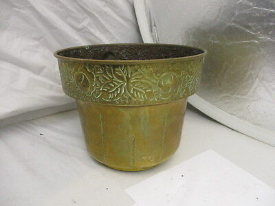 Vintage Brass Planter Tub Jardiniere Palnt Pot Ornate Fruit Leaf Floral Rim Old