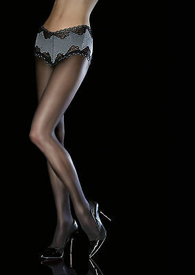 Fiore Amitis 40 Denier Sheer Tights with built in Laced Panty Silicone backed