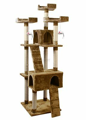 FoxHunter Kitten Cat Tree Scratching Post Sisal Toy Activity Centre Brown 608