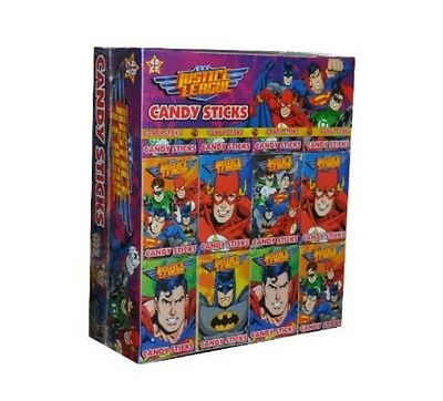 Justice League Super Hero Candy Sticks Sweets Packets Quantity  12 - 75 Full Box