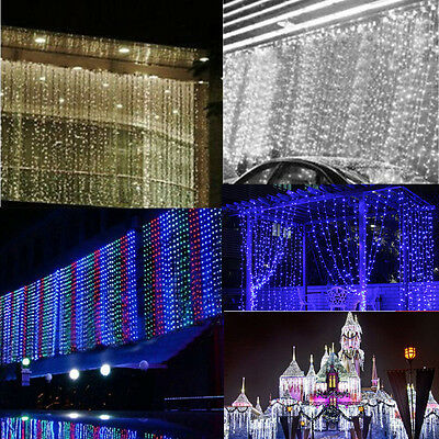 300/600/1000 Led Falling Curtain Fairy Lights Wedding Indoor Outdoor Xmas Party