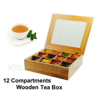Wooden Tea Box,Large Tea Bag Storage Box Container,12Compartments, Nature Wood