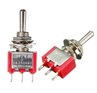 5PCS Mini 3 PIN RED Toggle Switch SPDT On-Off-On 6A 125VAC NEW