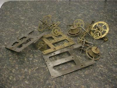 Vintage EN Welch Brass Mantle Wall Clock Kitchen Movement Gears Shafts  E728