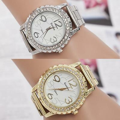 Women Ladies luxury Stainless Steel Rhinestone Crystal Dial Quartz Wrist Watch