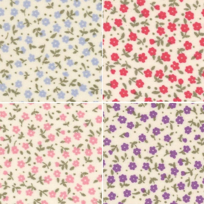 100/% Cotton Poplin Fabric Rose /& Hubble Lake District Ditsy Floral Flowers