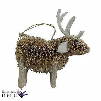 Gisela Graham Rustic Bristle Glitter Reindeer Hanging Christmas Tree Decoration
