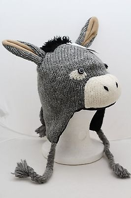DONKEY HAT ONLY mule costume KNIT adult size FLEECE LINED Mittens sold separate