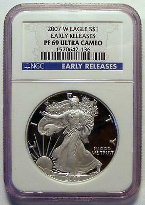 NGC PF69 UCAM EARLY RELEASES 2007 W ULTRA CAMEO PROOF American Silver Eagle