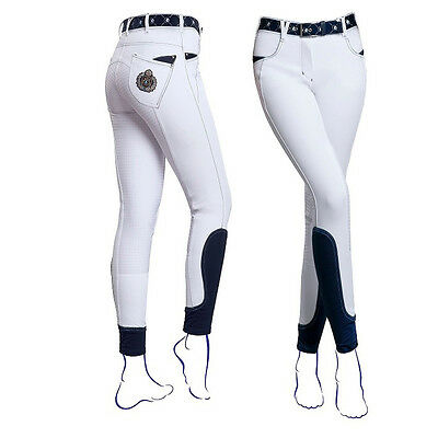 New! Exquisite Fair Play Scarlett Full Silicone Grip White Competition Breeches