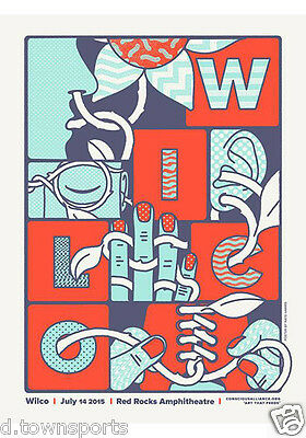 WILCO July 14 2015 Live @ Red Rocks 18x24 Screen Print Concert / Gig Poster