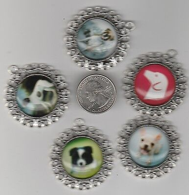Lot Of 5 Big Silver Tone  Metal Dog Pendent Charms -  U.s. Seller. -W1