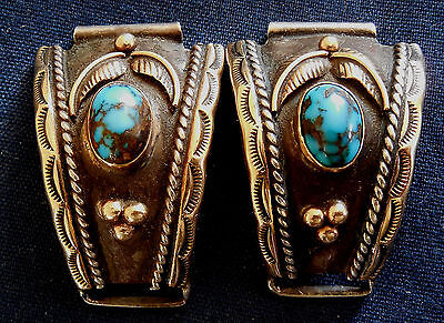Native American, Sterling, 14K Solid Gold, Turquoise Cabs, Vintage Watch Ends