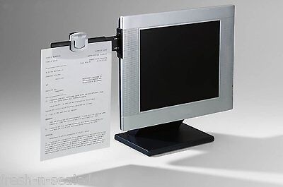Monitor Mount Paper Document Holder Swing Arm Attach Clip Office Note Magazin 3M