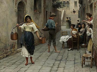 Catch Of The Day Falso D'autore Eugene De Blaas Quadro Nuovo Dipinto A Mano