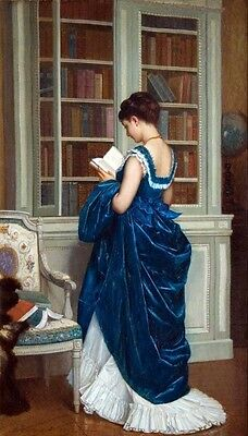 In The Library 1872 Falso D'autore Auguste Toulmouche Quadro Dipinto A Mano