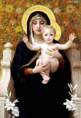Madonna E Bambino 1899 Falso D'autore William Bouguereau Quadro Dipinto A Mano