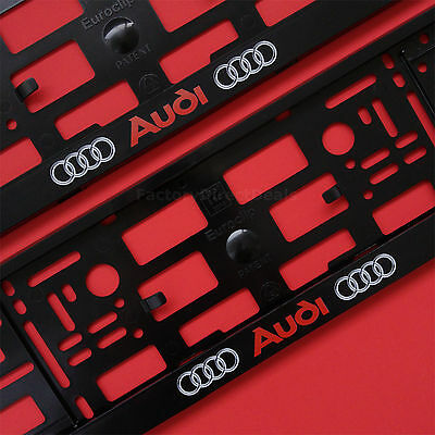 New Pair Audi Number Plate Surrounds Holder Frame For Any Audi Cars