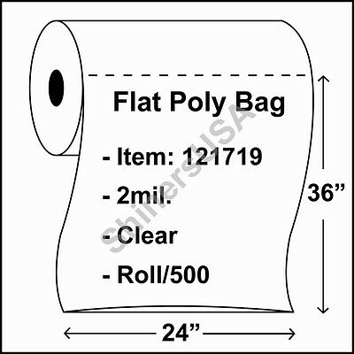 2 mil Clear Poly Bag 24x36 Open Top Lay Flat Packaging 500 Per Roll 121719