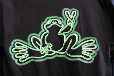 Peace Frogs Neon Tube Glows In Dark Large T-Shirt