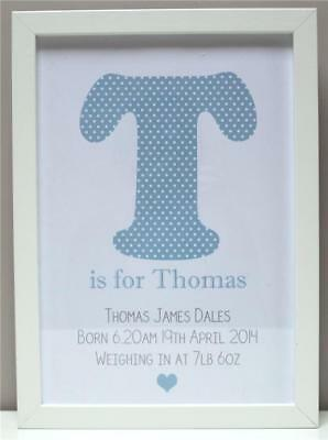 Personalised New Baby Gift Present Boy Girl Christening Newborn Print or Frame C