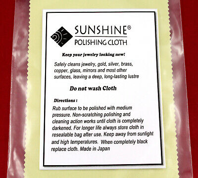Sunshine Jewelery Polishing Cloth in a resealable bag. Clean Gold, Silver ,Brass