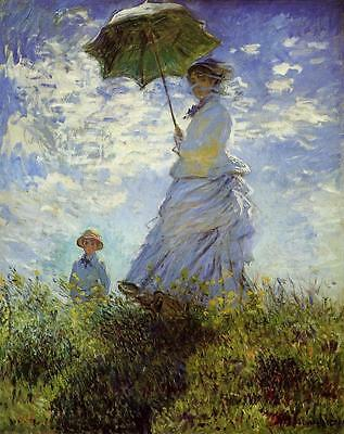 The Walk Woman With A Parasol Monet Falso D'autore Quadro Nuovo Dipinto A Mano