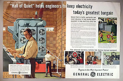 """General Electric 2-Page PRINT AD - 1954 ~~ """"Hall of Quiet"""" electricity"""