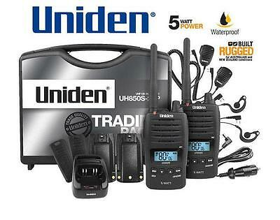 Uniden UH850S-2TP TWIN Tradie Pack 5 Watt Rugged Handheld CB UHF Walkie Talkie