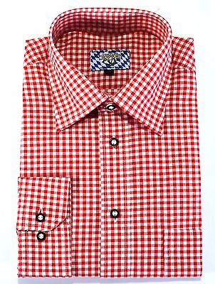 Men's Red Checkered Traditional Bavarian Shirt