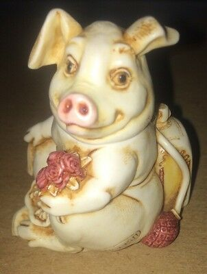 Harmony Kingdom Fragonard Pig Porcelain Flower Animal Mib