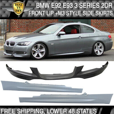 Fit 07-10 BMW E92 E93 Coupe MTECH Msport Front Bumper Lip + M3 Style Side Skirts