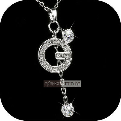pendant necklace 18k white gold made with SWAROVSKI crystal G luxury