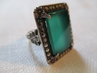 Beautiful Antique Sterling Silver Jade Glass Marcasite Ring Possibly Russian 4.5