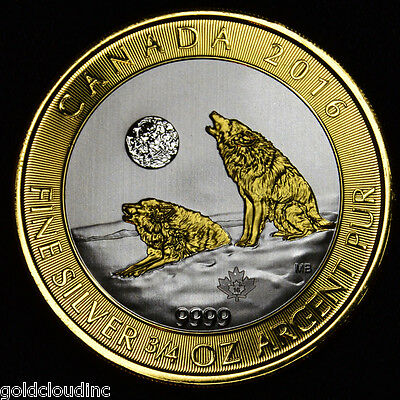 Gilded 2016 3/4 oz Canadian Howling Wolf Silver Coin 24K Gold High Contrast