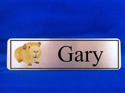 Personalised Guinea Pig Hutch Door Name Plaque Sign Gold