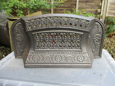 Antique Cast Iron Fire Fender Front Grate Grill Floral Gilt 1899 Victorian Betty