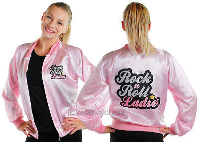 Rock N Roll Ladies Pink Satin Jacket 1950'S Fancy Dress Costume Tv Film Musical