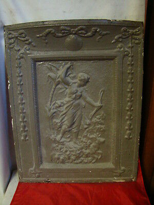 Antique Late 1800's Cast Iron Fireplace Cover Very Ornate Cherub With A Bow Deer