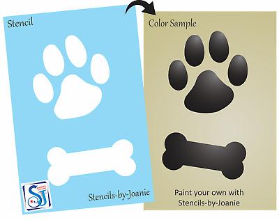 "Dog Stencil 4"" Paw Print Bone You Paint Puppy Pet Animal Kennel Signs Craft Art"