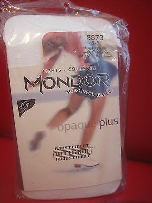 Mondor Child 6-8 #3373 White Footless Skating Tights With Gusset OPAQUE PLUS