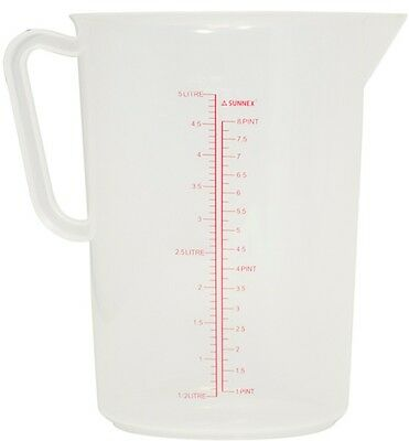 Massive 5 Litre Large Measuring Jug Plastic Less Likely to Break With Measurment