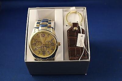 Men's Watch & Keychain Set Goldtone Metal Band Wristwatch Faux Leather Keychain