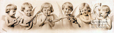 Cupid's Orchestra by W.L. Huskell (Art Print of Vintage Art)