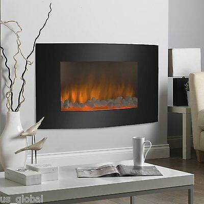Fireplace Heater Free Standing Glass 3D Flame Technology Adjustable Electric NEW