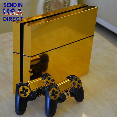 Gold Chrome Vinyl Skin Sticker For PS4 Playstation 4 Console+ 2 Controller Decal