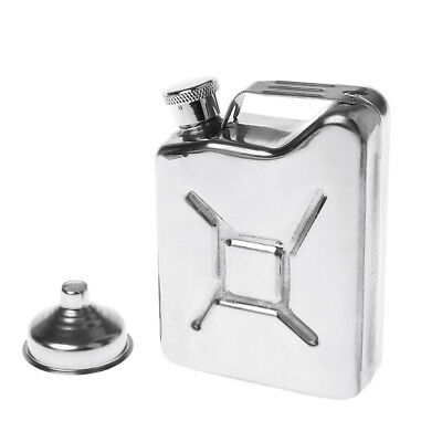 Mens 5oz Stainless Steel Jerry Can Hip Flask Liquor ReFuel Fuel Petrol Whisky
