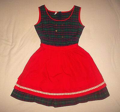 rare true vintage 70`s Kleid rockabilly punk mit Schürze skirt kids Gr.146