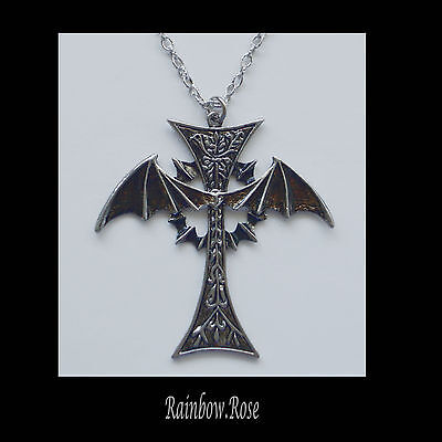 Necklace #510 GOTHIC Cross BAT wings 70mm - Silver Chain 78cm long UNISEX Goth