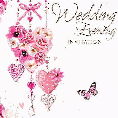 Pack Of 6 Wedding Evening Card Invitations & Envelopes - Flower Heart Butterfly